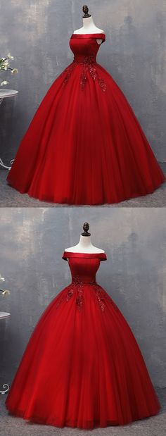 Burgundy tulle off shoulder A-line long evening dress with lace appliques #dress