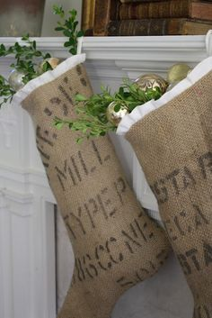 Christmas stockings from coffee sacks. Could use a stencil to mimic coffee sacks. Decoration Christmas, Noel Christmas, Rustic Christmas, Winter Christmas, Christmas Design, Handmade Christmas, Vintage Christmas, Christmas Ideas, Christmas Ornaments
