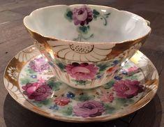 Antique Meiji Japanese Tea Cup Saucer Signed Kutani Hand Painted Roses Eggshell | Antiques, Decorative Arts, Ceramics & Porcelain | eBay!