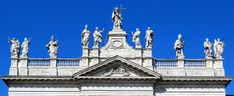 Statues atop the facade of San Giovanni in Laterano (St John Lateran), Rome. Vatican, World History, Walking Tour, Rome, Facade, Cathedral, Saints, Louvre, Museum