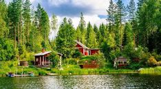 Photo about A traditional Finnish wooden cottage with a sauna and a barn on the lake shore. Image of green, blue, sauna - 113713200 Lappland, Best Places To Live, Great Places, Helsinki, World Happiness, International Day Of Happiness, Wooden Cottage, Scandinavian Countries, Summer Landscape