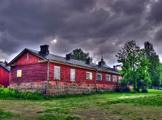 Old red house in the fortress of Lappeenranta, Finland