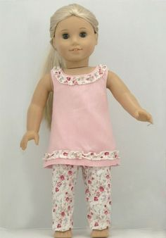 """2PCs 18"""" Doll Clothes Outfit fit American Girl-Pink Tank Top+Flower Pant K2H"""