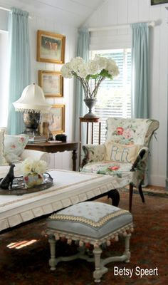 Slipcovered table and ottoman