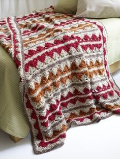 Zig Zag Afghan made with Homespun yarn. Free pattern from Lion Brand.