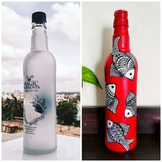 Glass Bottle Crafts, Wine Bottle Art, Diy Bottle, Plastic Bottle, Painting Glass Jars, Bottle Painting, Glass Art, Pottery Painting Designs, Vase Crafts