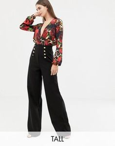 Buy Flounce London Tall wide leg trousers with gold button detail in black at ASOS. With free delivery and return options (Ts&Cs apply), online shopping has never been so easy. Get the latest trends with ASOS now. Tall Wide Leg Trousers, Tall Pants, Fashion Wear, Pop Fashion, Luxury Fashion, Trousers Women, Pants For Women, Asos, Clothing For Tall Women