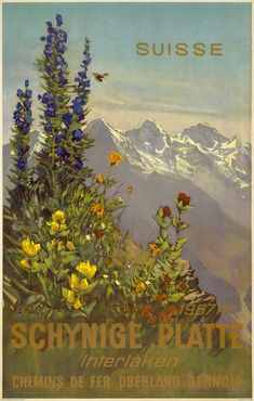 Artist: Ernst Hodel ca 1940. Place: Schynige Platte, near the Jungfrau, Switzerland