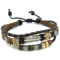 KONOV Mens leather feather bracelet puts you back in touch with nature.