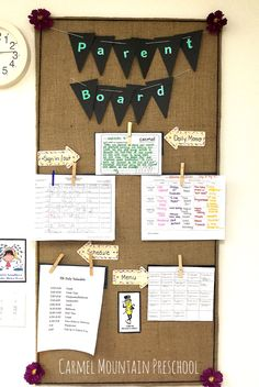 Parent board Idea - definitely need a place for parents to Reggio Classroom, Classroom Setup, Classroom Environment, Preschool Classroom, Preschool Parent Board, Parent Bulletin Boards, Toddler Classroom Decorations, Daycare Decorations, Toddler Daycare Rooms