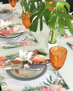 spring tropical tablescape