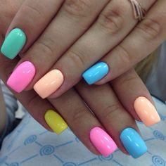 Multi color pastel colors nailart nail nailart nailidea nailinspiration naildesign nagel nageldekoration chiodo clou uña is part of Prom nails Red Tips - Prom nails Red Tips Summer Acrylic Nails, Best Acrylic Nails, Spring Nails, Summer Nails, Rainbow Nails, Neon Nails, My Nails, Dark Nails, Stylish Nails