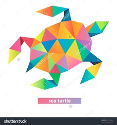 Vector Sea Turtle Geometric Illustration Many Stock Vector (Royalty Free) 337930622 Paint Chip Art, Cubism Art, Geometric Animal, Geometric Patterns, Origami, String Art, Arts And Crafts, Triangles, Turtles