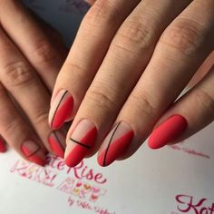 Simple Line Nail Art Designs You Need To Try Now line nail art design, minimalist nails, simple nails, stripes line nail designs Gradient Nails, Holographic Nails, Gel Nails, Acrylic Nails, Stiletto Nails, Coffin Nails, Red Matte Nails, Red Nail Art, Acrylics
