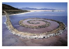Spiral Jetty is an earthwork sculpture made from rock and earth and is located on the northern end of the Great Salt Lake. Robert Smithson created the earthwork entirely out of mud, salt, basalt rocks, earth, and water in 1970. - it had to be done in the 70,s as the EPA would never allow this freedom of expression today!