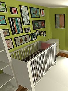 Gender Neutral Nurseries - Nursery Ideas - SLideshow    Try this - solid color wall, framed fabric and art for theme