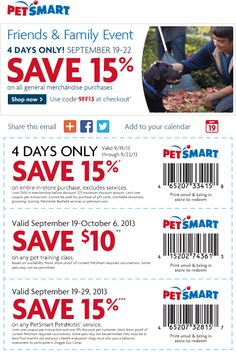 Pinned September 19th: 15% off at #PetSmart, or online via promo code 9FF13 #coupon via The Coupons App