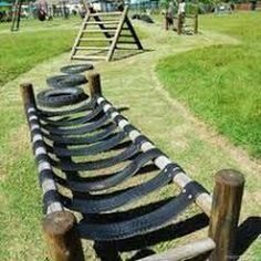 Ideas Backyard Playground Ideas Play Structures Back Yard For – natural playground ideas Tire Playground, Playground Design, Natural Playground, Outdoor Playground, Playground Ideas, Children Playground, Kids Obstacle Course, Backyard Obstacle Course, Backyard For Kids