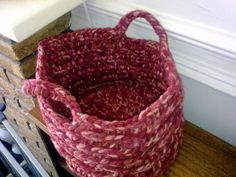 Chunky Red Crochet Round Basket 29cm diameter by TheHomemadeHaven, £25.00