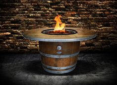 The originality and fine craftsmanship of our Estate Wine Barrel Fire Pit Table by Vin de Flame is the perfect outdoor fire feature to have for any event. Wine Barrel Fire Pit, Wine Barrel Table, Wine Barrel Furniture, Fire Pit Furniture, Wine Barrels, Barrel Sink, Barrel Smoker, Yard Furniture, Unique Furniture