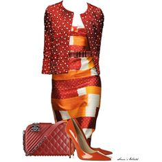 Color Combo: Orange & Red by sonies-world on Polyvore featuring Jimmy Choo, women's clothing, women's fashion, women, female, woman, misses and juniors