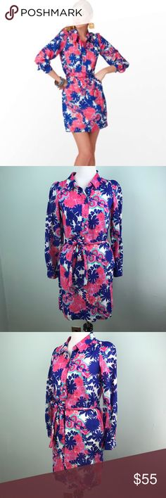 Lilly Pulitzer Davie Dress Floral Print Sz 0 Lilly Pulitzer Davie shirt dress in floral print. Size 0 - see photos for measurements  Features pink, blue, and minty green colors   No flaws noted.  —-  I do have a dog who sheds. I lint roll prior to shipping, but it's good to be aware. Lilly Pulitzer Dresses Long Sleeve