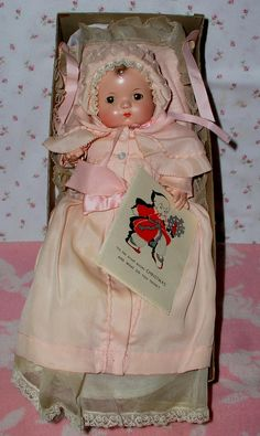 "1940's Effanbee 10"" PATSY BABYkin Doll -- Brown Molded Hair - A/O - PRISTINE in Box"