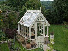 Wooden Greenhouse on a stone dwarf wall near Bath