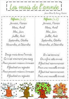 Les mois de l'année en français - months of the year in French French Teacher, Teaching French, Kids Education, Music Education, French Poems, Fall Coloring Pages, French Classroom, French Resources, French Immersion