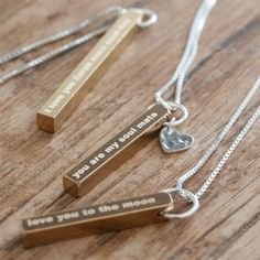Romantic Brass Bar Necklace #necklace #brass #anniversarygifts #anniversary #personalized #weddings