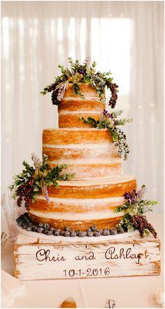 Naked cake, natural wedding cake, shabby chic customized wooden cake stand, lavender // Thankfully Taken Photography
