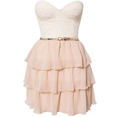 Elise Ryan Frill Lace Belted Dress ($79) ❤ liked on Polyvore featuring dresses, vestidos, robe, short dresses, party dresses, ivory, womens-fashion, short lace dress, pink mini dress and ivory lace dress