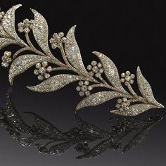 Georgian Myrtle Tiara (detail), United Kingdom (ca. 1800; diamonds, silver, gold).