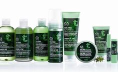 Body Shop Tea Tree Oil products — when it's the worst, most humid summer you've ever known, these products can make the last shower of the day feel wonderful....