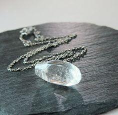 Clear  Quartz Necklace Oxidized Silver  Gemstone  by Hildes