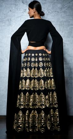 NIKHIL THAMPI Black embroidered lehenga set