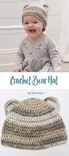 Crochet Bear Hat free crochet pattern in Hopscotch.
