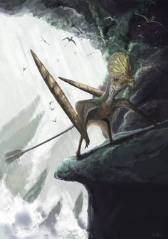 The Carnian/Norian Swiss pterosaur Caviramus schesaplanensis, one of the earliest species to take pterosaur anatomy to strange new places. Anyone else want to make puns about 'Cave-iramus' with this picture?