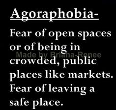 Agoraphobia: Fear of open spaces or of being in crowded, public places like markets. Fear of leaving a safe place. The Words, Words To Use, Cool Words, Unusual Words, Anxiety Disorder, Social Anxiety, Psychology Facts, Word Of The Day, Vocabulary Words