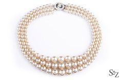 SALE 60% - Vintage Jackie Kennedy Triple Strand Faux Pearl Necklace w/Silver Toned Diamante Clasp - Circa 1958 on Etsy, $57.95