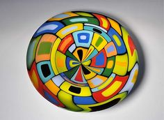 Large Round Blown Carnival Bowl by Helen Rudy: Art Glass Bowl available at www.artfulhome.com