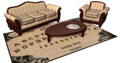 Okay, this is a pretty clever design of a ouija board area rug and a coffee table in the shape of a planchette. The conceptual design was imagined by Dave Delisle of Dave's Geek Ideas. Dave came up with idea back in 2013. The good news is that apparently now you can actually own this set!