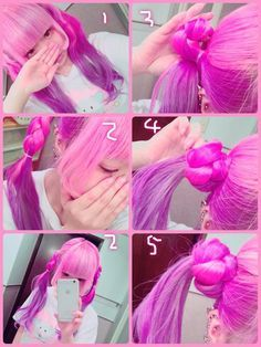 Pin on Hair Kawaii Hairstyles, Pretty Hairstyles, Easy Hairstyles, Girl Hairstyles, Anime Hairstyles In Real Life, Wig Styles, Curly Hair Styles, Hair Inspo, Hair Inspiration