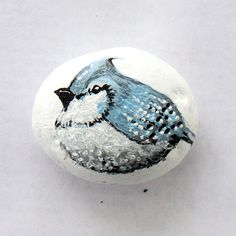 This blue jay was hand-painted on a river stone with outdoor acrylic paint.    Pet rocks are perfect for decoration around the house or in the