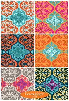 Moroccan Tile patterns by Pattern Camper & Surface Pattern Designer Leona Jaeger.