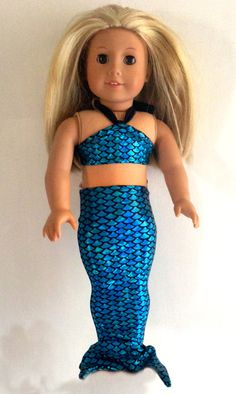 Ameican Girl mermaid tail outfit metalic by FullHouseStudio, $15.00