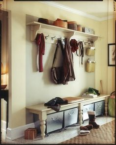 Entry Bench and shelf. Love the use of furniture legs as support. This could be a diy.