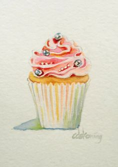 Pink Cupcake original ACEO watercolor painting by christydekoning, $25.00