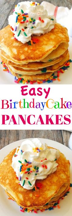 Sweet Cream Pancakes stuffed with sprinkles and topped with whipped cream. Perfect for birthdays or any day. Kids will love them.