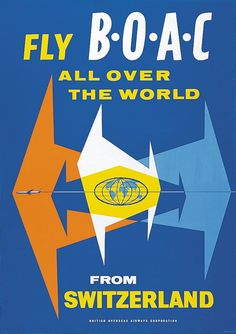 Fly BOAC All Over the World from Switzerland / 1962